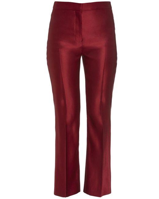 Alexander McQueen シルクダブルドゥシェスパンツ Red