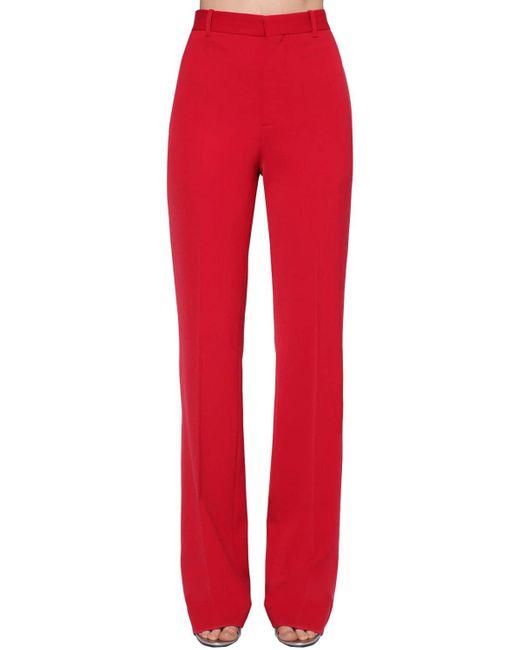Balenciaga ウールストレッチツイルワイドパンツ Red