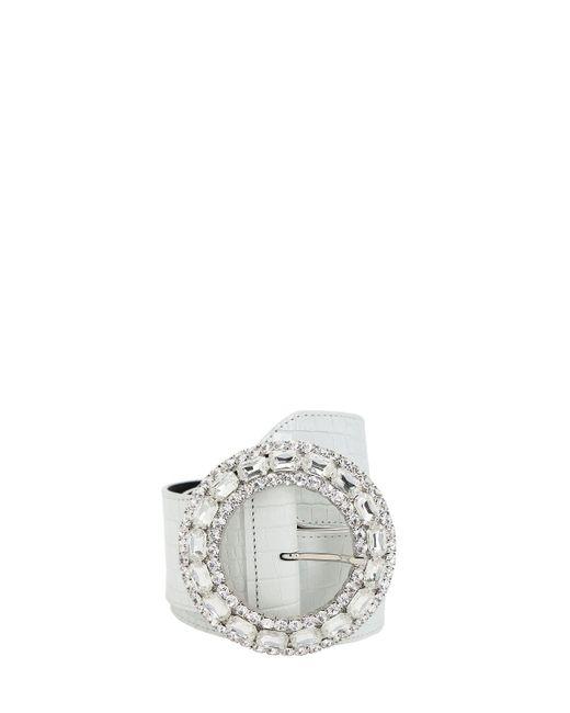 Alessandra Rich クロコエンボスレザーベルト 50mm White