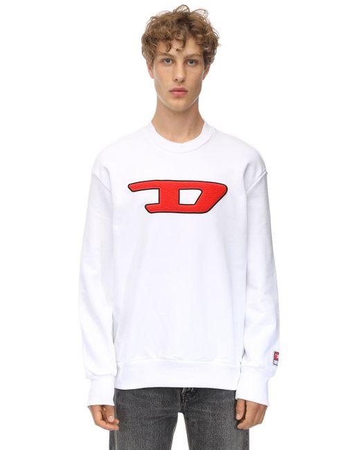 メンズ DIESEL Dロゴパッチ コットンスウェットシャツ White