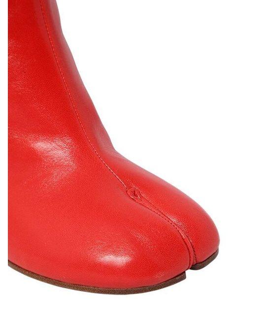 Maison Margiela 90mm Tabi レザーアンクルブーツ Red