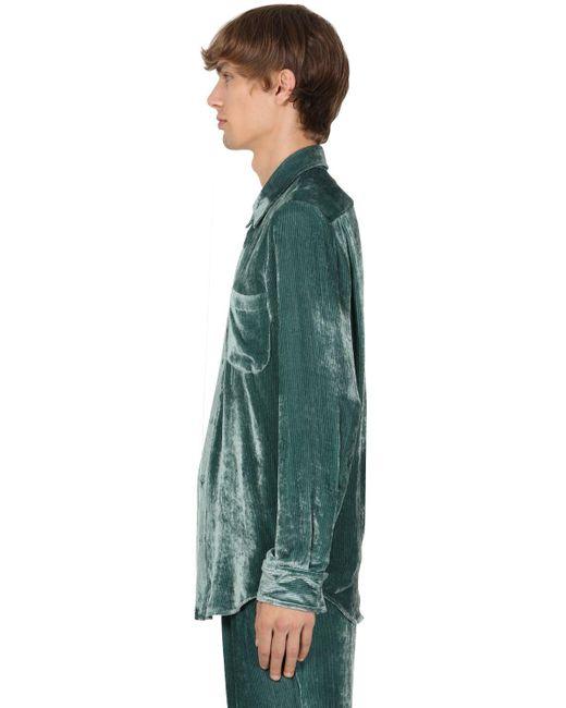メンズ Sies Marjan ビスコース&キュプラシェニールシャツ Green