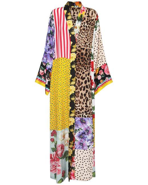 Dolce & Gabbana Patchwork シルククレープデシンドレス Multicolor