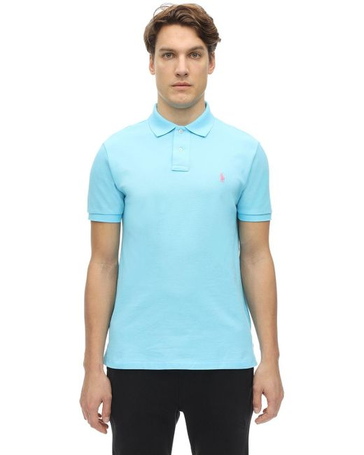 メンズ Polo Ralph Lauren コットンピケポロシャツ Blue