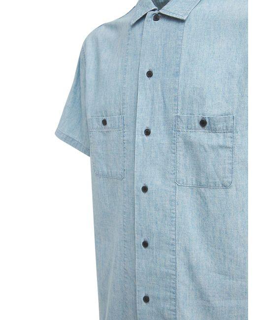 Хлопковая Рубашка Saint Laurent для него, цвет: Blue