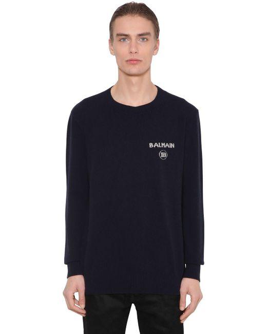 メンズ Balmain カシミア&ウールニットセーター Black