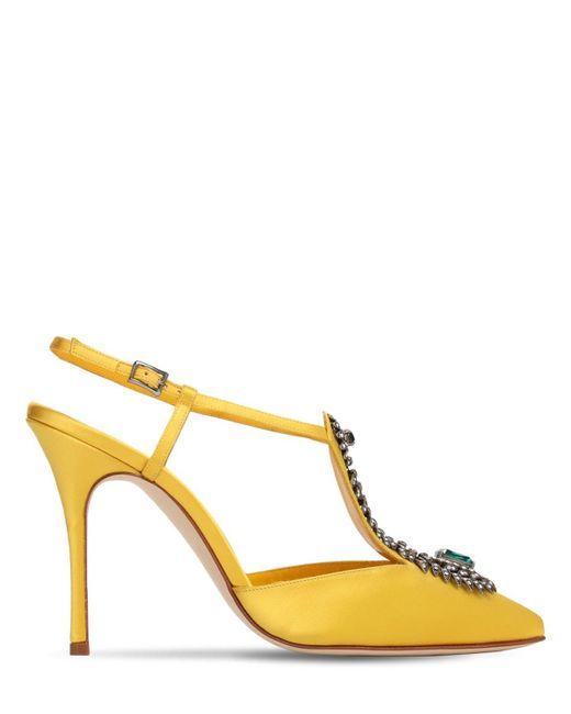 Manolo Blahnik Jamala サテンパンプス 105mm Yellow