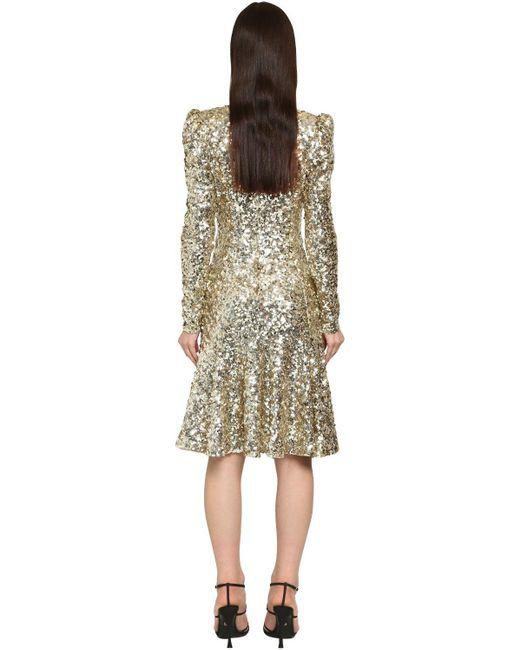 Платье Миди С Пайетками Dolce & Gabbana, цвет: Metallic