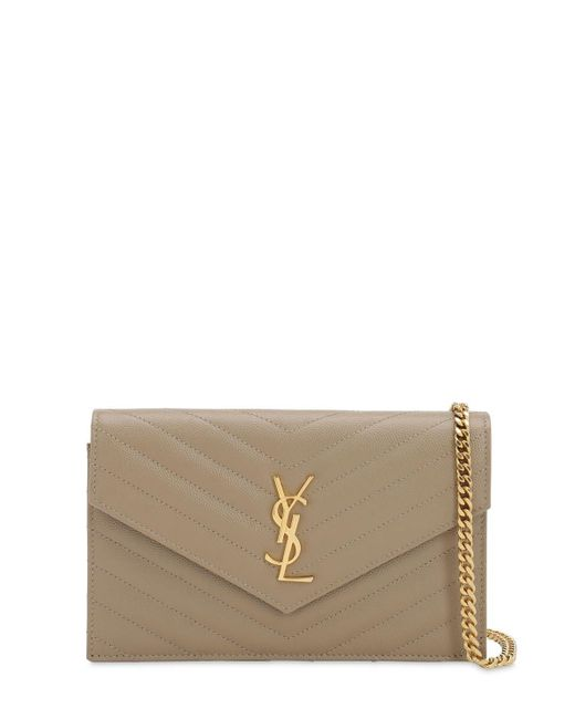 Saint Laurent Gray Sm Monogram Quilted Leather Bag