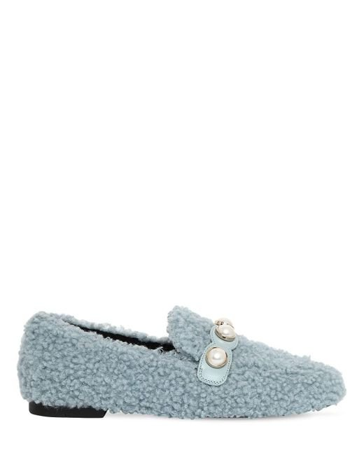 Suecomma Bonnie Blue 10mm Furry Faux Shearling Loafers