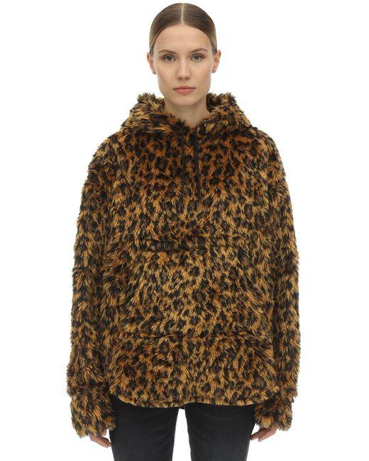 R13 Brown Hooded Fuzzy Faux Fur Jacket