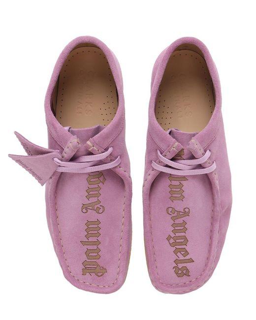 Замшевые Ботинки На Шнурках Clarks Wallabee 30мм Palm Angels для него, цвет: Purple