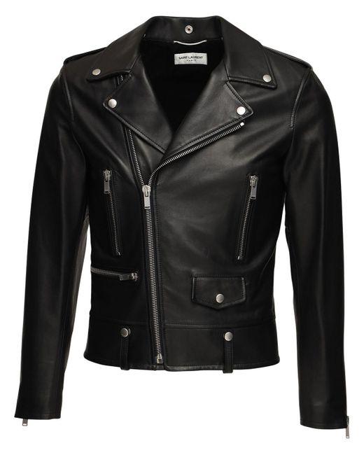 メンズ Saint Laurent レザー バイカージャケット Black