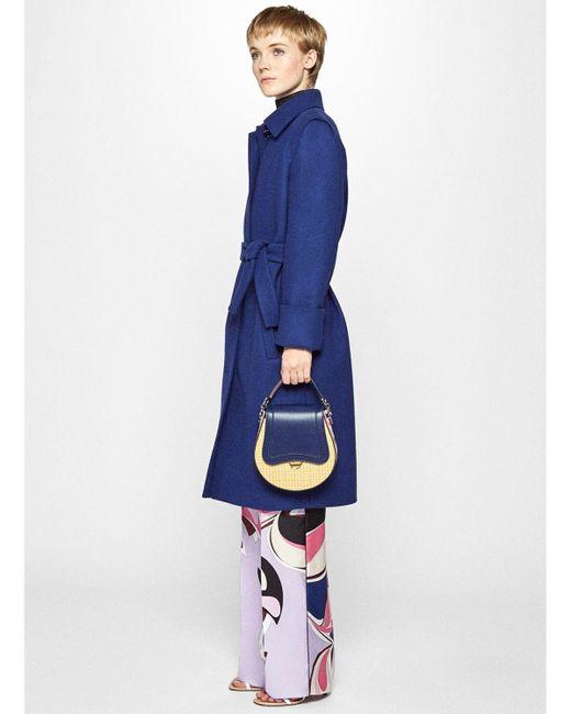 Emilio Pucci Doraラフィア&レザートップハンドルバッグ Blue