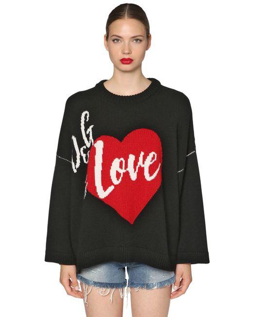 Dolce & Gabbana オーバーサイズ カシミア混セーター Black