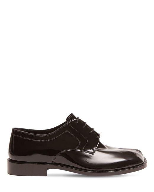 Туфли Из Лакированной Кожи Tabi Maison Margiela для него, цвет: Black