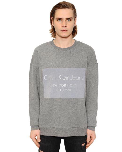 Calvin Klein Jeans | Gray Logo Flocked Cotton Sweatshirt for Men | Lyst