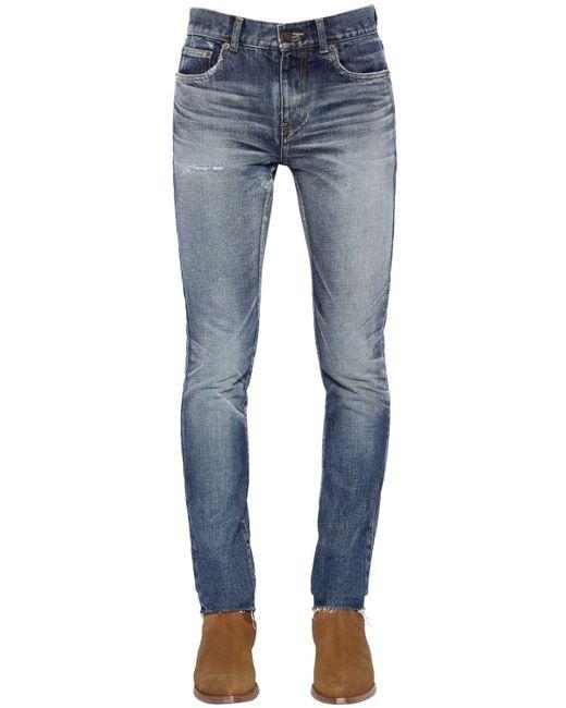 メンズ Saint Laurent 15cm ローライズウォッシュドデニムジーンズ Blue