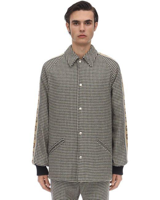 メンズ Gucci ハウンドトゥースコットンウールヴィンテージコート Multicolor
