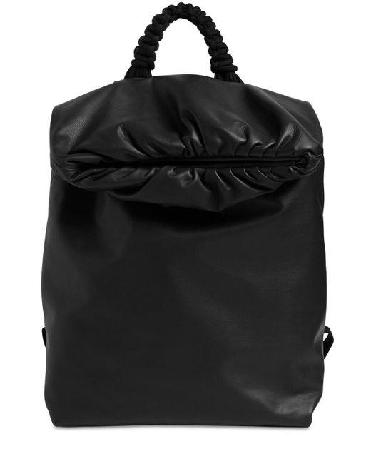メンズ Bottega Veneta ウォータープルーフレザーバックパック Black