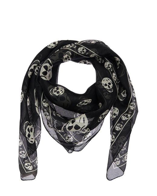 メンズ Alexander McQueen Skull シルクスカーフ Black