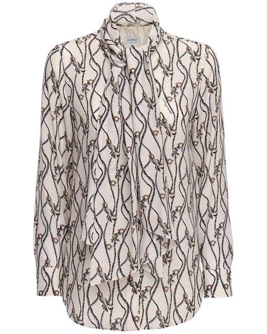 Рубашка Из Шёлкового Крепдешина С Принтом Ferragamo, цвет: Multicolor