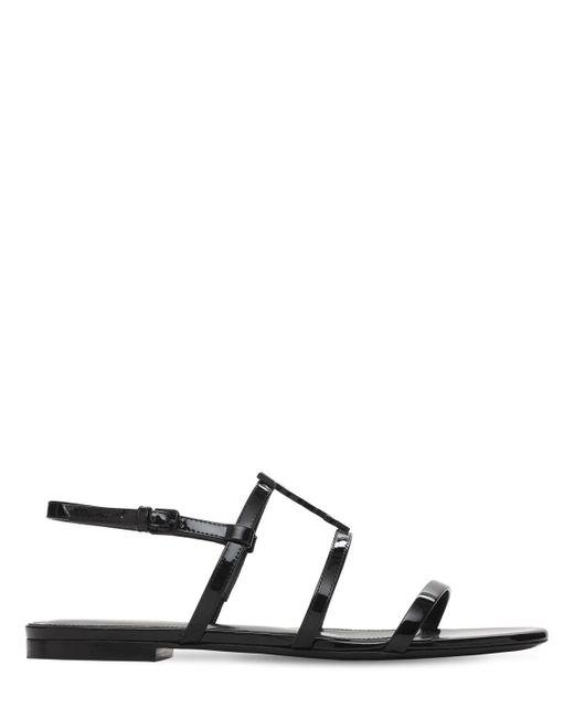 Saint Laurent Cassandra パテントレザーサンダル 10mm Black