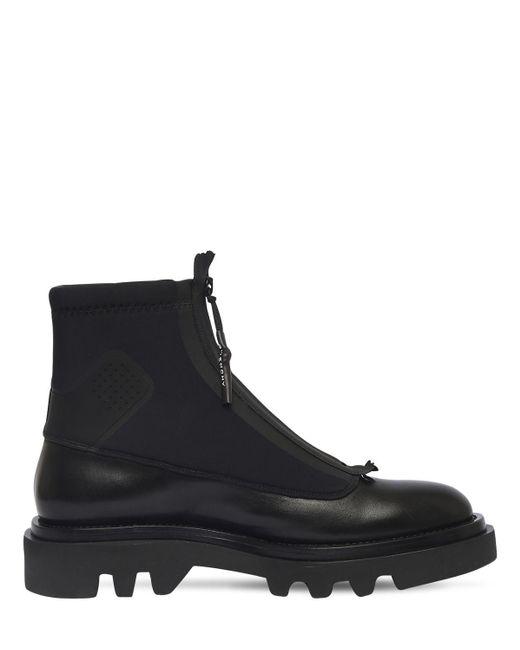 メンズ Givenchy レザー&ネオプレンコンバットブーツ Black