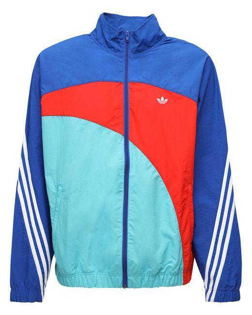 メンズ Adidas Originals ナイロンウインドブレーカージャケット Blue