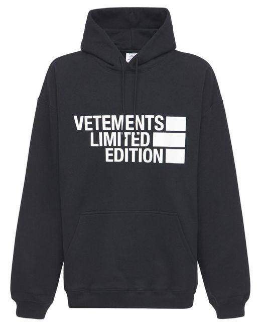 メンズ Vetements Limited Edition コットンフーディー Black