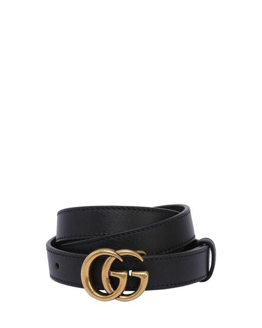 "Кожаный Ремень ""gg Marmont"" 20мм Gucci, цвет: Black"