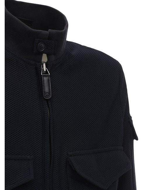 メンズ Giorgio Armani メッシュボンバージャケット Blue
