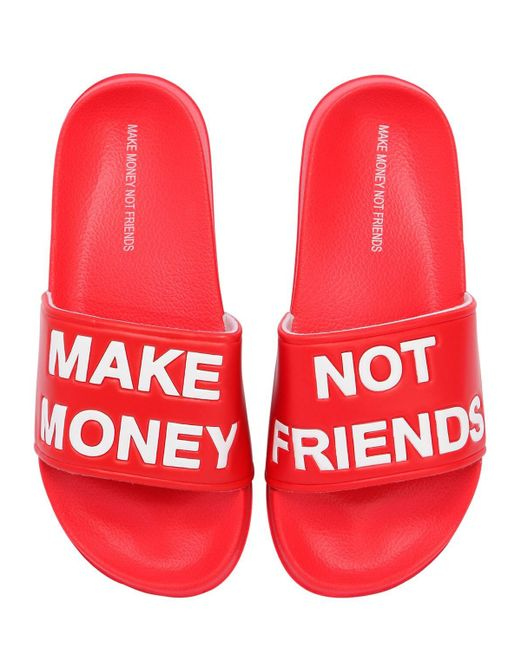 MAKE MONEY NOT FRIENDS ロゴ スライドサンダル Red