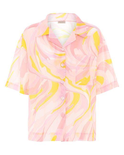 Emilio Pucci プリントコットン&シルクシャツ Pink