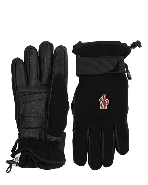 3 MONCLER GRENOBLE Black Twill Bi-stretch Technique Gloves