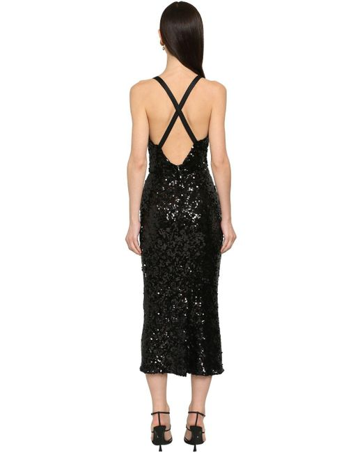 Dolce & Gabbana スパンコールペンシルミディドレス Black