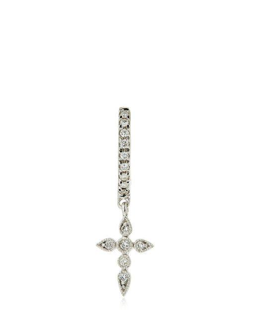 Stone Paris | Metallic Celeste Tiny Mono Hoop Earring W/ Cross | Lyst