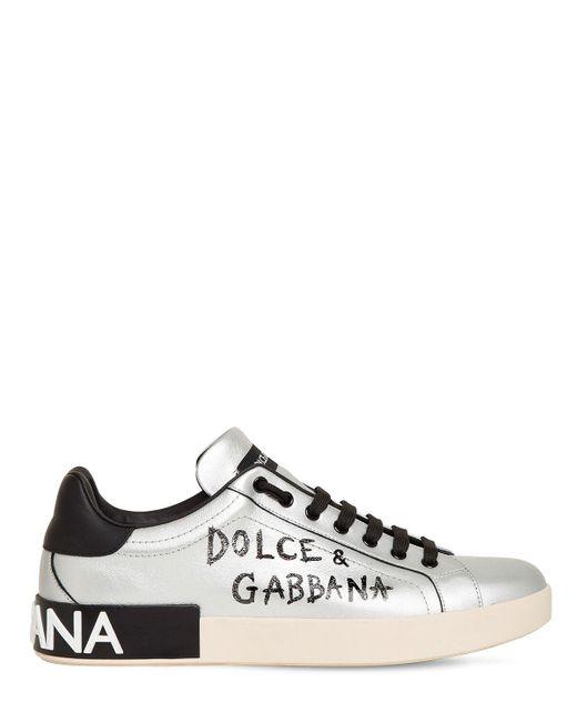 Dolce & Gabbana Metallic Calfskin Nappa Portofino Sneakers für Herren