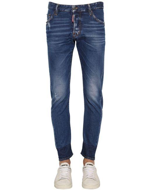 メンズ DSquared² Sexy Twist コットンデニムジーンズ 16cm Blue
