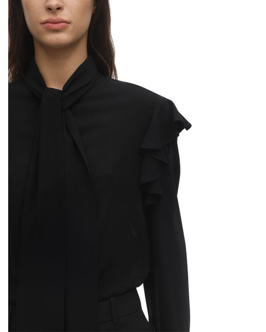 Блузка Из Жоржета Alexander McQueen, цвет: Black