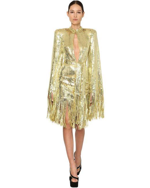 Платье С Пайетками Balmain, цвет: Metallic