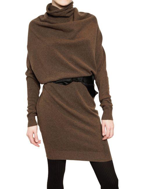 Lanvin | Brown Draped Wool Knit Dress | Lyst