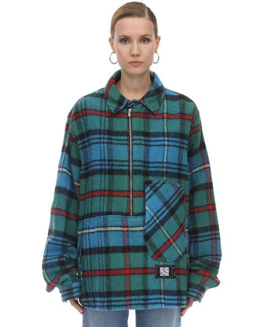 we11done Green English Check Anorak Shirt