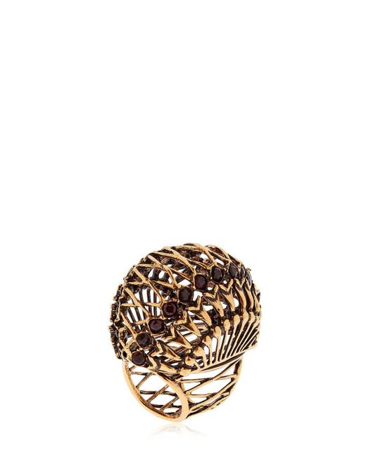 Alcozer & J | Metallic Brass Ring W/ Garnet Stones | Lyst