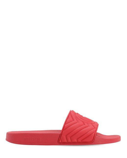 メンズ Gucci ラバースライドサンダル Red