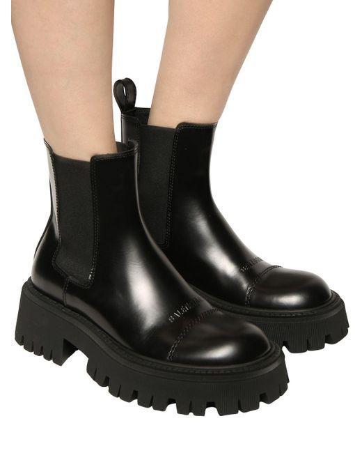 Кожаные Ботинки-комбат 60mm Balenciaga, цвет: Black