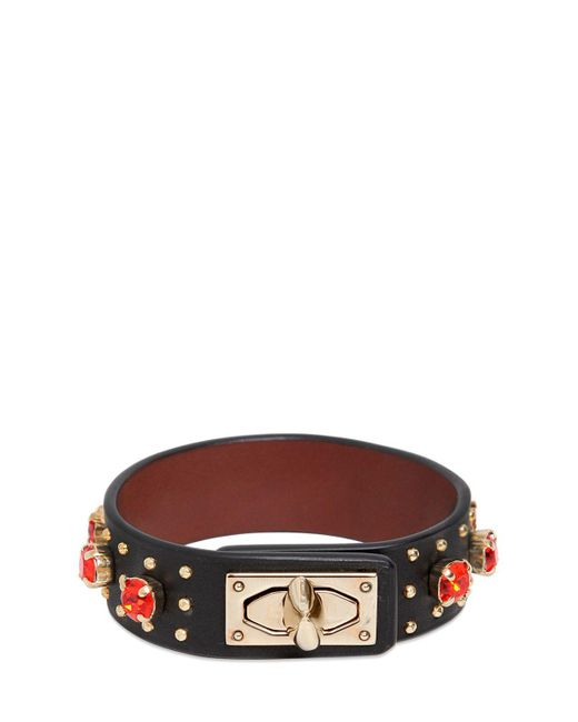 Givenchy | Black Leather Bracelet With Rhinestones | Lyst