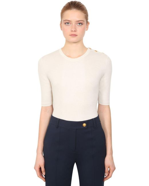 Tory Burch White Short Sleeve Cashmere Knit Sweater