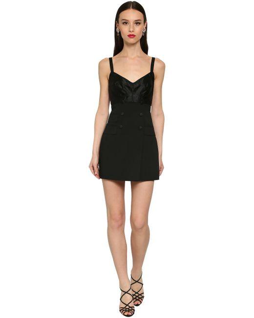 Dolce & Gabbana ストレッチウールミニドレス Black