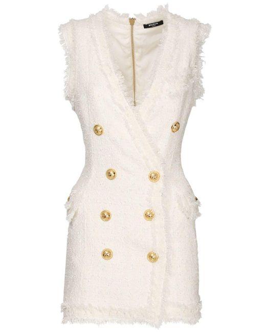 Balmain ツイードミニドレス White